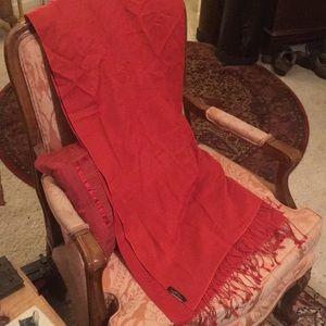 Henri Bendel red pashmina & silk wrap scarf